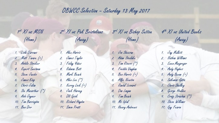 OBWCC Selection - 13 May 2017