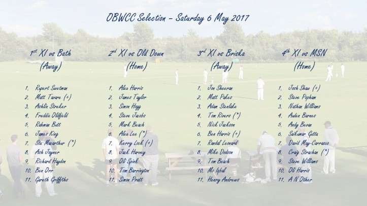 OBWCC Selection - 6 May 2017